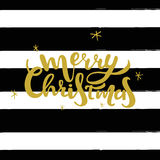 Merry Christmas gold lettering design. Vector illustration with hand drawn black stripes.  Royalty Free Stock Photography