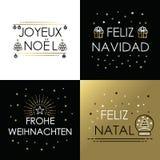 Merry christmas gold line international navidad stock photography