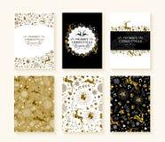 Merry christmas gold low poly set reindeer card Stock Photos