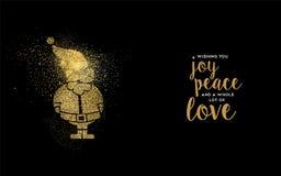 Christmas gold glitter santa claus holiday card Stock Photos