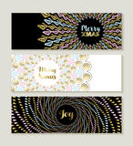 Merry Christmas gold mandala set of banners. Merry christmas gold mandala banner set, hand drawn boho and tribal shape designs ideal for social media covers Stock Images