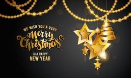 Merry Christmas gold Royalty Free Stock Photos