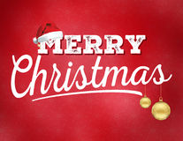 Merry Christmas. With gold ornaments and Santa hat Royalty Free Stock Photos