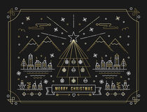 Merry Christmas gold outline tree decoration city Stock Image