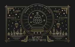 Merry christmas gold outline xmas city tree winter Royalty Free Stock Images