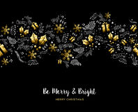Merry Christmas gold pattern decoration ornaments Royalty Free Stock Photography