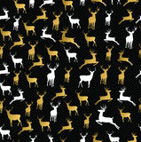 Merry christmas gold reindeer seamless pattern Royalty Free Stock Photography