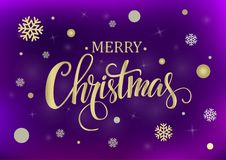 Merry Christmas gold and silver. Merry Christmas gold glittering lettering design on a purple background. Vector illustration EPS 10 Royalty Free Stock Photo