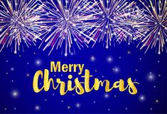 Merry Christmas gold text with firework on the shiny background. Vector illustration Royalty Free Stock Images
