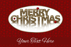 Merry Christmas, Gold Text, Red Ornaments Royalty Free Stock Images