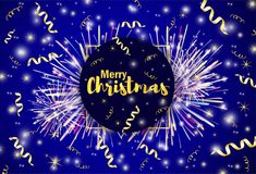 Merry Christmas gold text, ribbons and firework on the shiny bac. Kground. Vector illustration Stock Photo