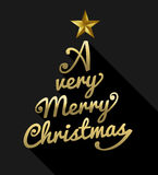 Merry christmas gold text tree shape greeting card Royalty Free Stock Photo