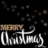 Merry Christmas gold and white lettering design on black background with golden snowflakes. Royalty Free Stock Photography