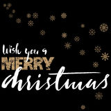 Merry Christmas gold and white lettering design on black background with golden snowflakes. Vector illustration. Snowflakes background. EPS 10 Royalty Free Stock Photos