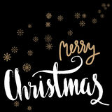 Merry Christmas gold and white lettering design on black background with snowflakes. Royalty Free Stock Photography