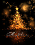 Merry Christmas. Golden background with a christmas tree and Merry Christmas Text Royalty Free Stock Photography