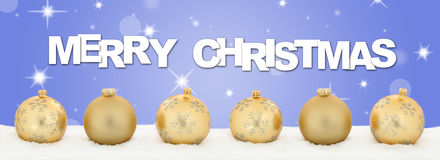 Merry Christmas golden balls banner decoration stars background Stock Images