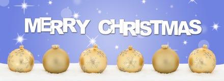Merry Christmas golden balls banner decoration stars background Stock Images