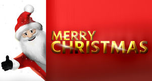 Merry Christmas golden bold font 3d render Royalty Free Stock Photo