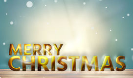 Merry Christmas golden bold font 3d render Royalty Free Stock Images