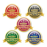 Merry Christmas 5 Golden Buttons Royalty Free Stock Image