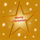 Merry Christmas. Golden card with stars Stock Photo
