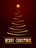Merry Christmas and golden christmas tree over red background. 3d text Merry Christmas and golden christmas tree with gold star over red background stock illustration