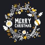 Merry Christmas Golden Dark Ornament Card Royalty Free Stock Photos