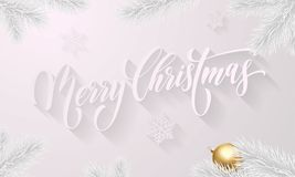 Merry Christmas greeting card vector golden decoration snow pattern New Year background. Merry Christmas golden decoration ball on white snowflake pattern and Royalty Free Stock Photo
