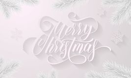 Merry Christmas golden decoration ball on white snowflake pattern and fir or pine Christmas tree branches background. Vector New Y. Ear wish calligraphy text for Royalty Free Stock Photos