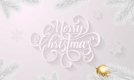 Merry Christmas golden decoration ball on white snowflake pattern and fir or pine Christmas tree branches background. Vector New Y. Ear wish calligraphy text for Stock Image
