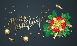 Merry Christmas golden decoration and gold font calligraphy greeting card design. Vector Christmas tree holly wreath decoration, N. Ew Year holiday red gift and Stock Image