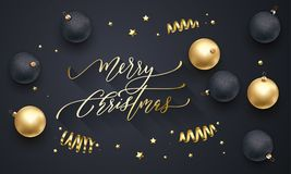 Merry Christmas golden decoration, hand drawn calligraphy golden font for invitation on black festive background. Vector Christmas. Or New Year winter holiday Stock Photo