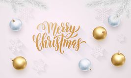 Merry Christmas golden decoration, hand drawn calligraphy golden font for invitation on white festive background. Vector Christmas. Or New Year winter holiday Royalty Free Stock Photo