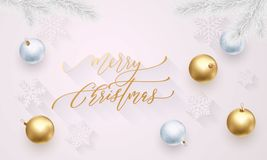 Merry Christmas golden decoration, hand drawn calligraphy golden font for invitation on white festive background. Vector Christmas. Or New Year winter holiday Royalty Free Stock Image