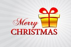 Merry christmas with golden gift box over silver rays Stock Image