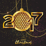 Merry Christmas Golden Glitter balls. 2017 Beautiful Decoration Bauble Royalty Free Stock Images