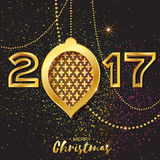 Merry Christmas Golden Glitter balls. 2017 Beautiful Decoration Bauble Royalty Free Stock Photos