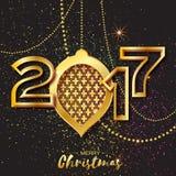 Merry Christmas Golden Glitter balls. 2017 Beautiful Decoration Bauble. Merry Christmas Golden Glitter balls. Beautiful Decoration Bauble elements and garlands Stock Illustration