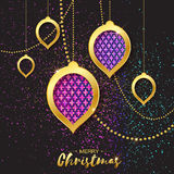 Merry Christmas Golden Glitter Pink Purple balls. Beautiful Decoration Bauble Royalty Free Stock Photo