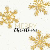 Merry Christmas Golden Glitter Snowflakes Card for your Invitation or Design royalty free illustration