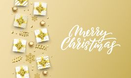 Merry Christmas golden greeting card of gold gifts, stars confetti and snowflakes. Vector premium Christmas design template, calli vector illustration
