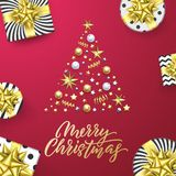 Merry Christmas golden greeting card pink background. Vector Xmas tree gold gifts, text calligraphy and silver stars confetti. Merry Christmas golden greeting vector illustration
