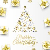 Merry Christmas golden greeting card, Xmas tree gold gifts and calligraphy text. Vector golden snowflakes, stars confetti. On silver sparkling decorations stock illustration