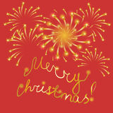 Merry Christmas! Golden Hand-Written Letters and Fireworks on Red. Festive Background.Shimmering Starry Fireworks. Perfect for Your Festive Design. Vector Stock Images