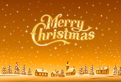 Merry Christmas golden lettering royalty free illustration