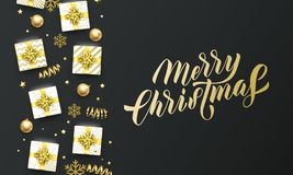 Merry Christmas golden lettering text, black background. Vector Christmas greeting card calligraphy, gifts, snowflakes and gold. Glitter stars vector illustration