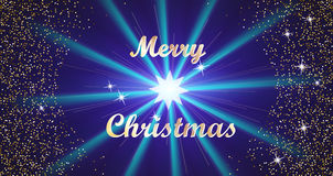 Merry Christmas Golden Lettering Typography and Bright Stars on a Dark Blue Background. Vector illustration Stock Photos
