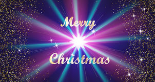 Merry Christmas Golden Lettering Typography and Bright Stars on a Dark Blue Background. Vector illustration Royalty Free Stock Photography