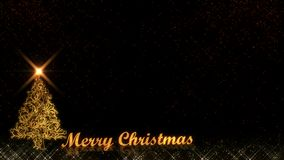 Merry Christmas golden light shine particles fireworks black background stock photo